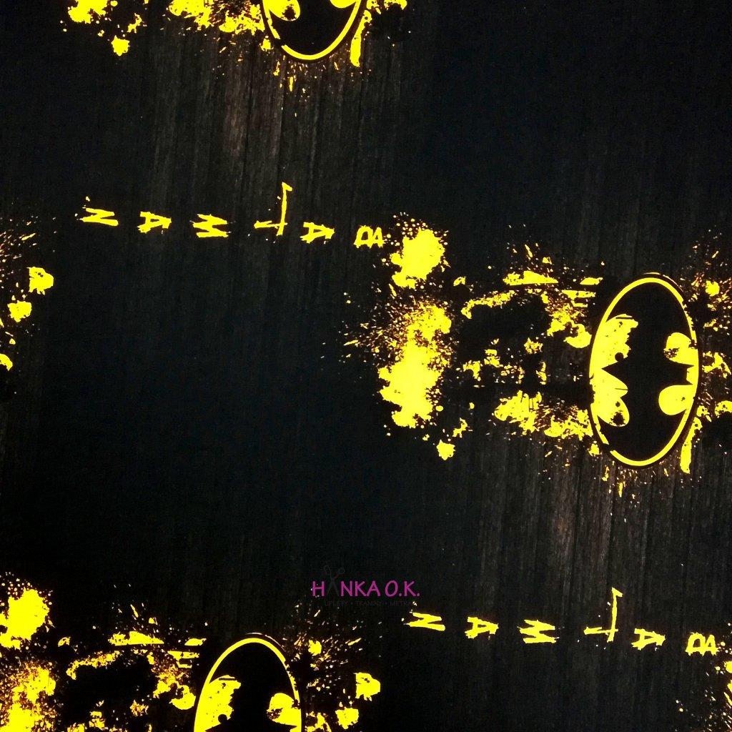 Teplákovina nepočesaná digitisk Batman logo 240g