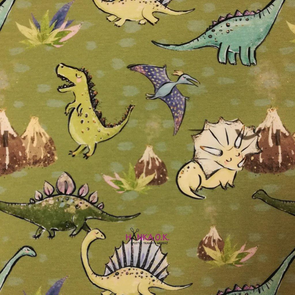 Teplákovina nepočesaná digitisk dinosauři na zelené 240g