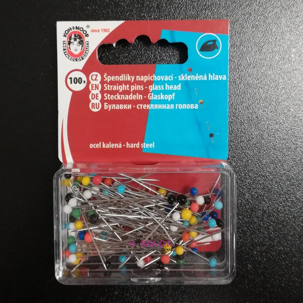 Špendlíky se skleněnou hlavou 0,6 x 30mm, 100 ks - krabička