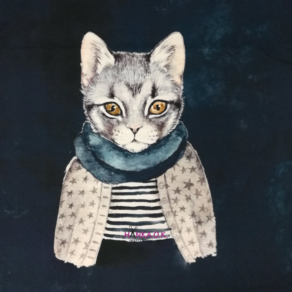 Panel úplet bavlna kočka v šále - na celé tričko 100x150cm