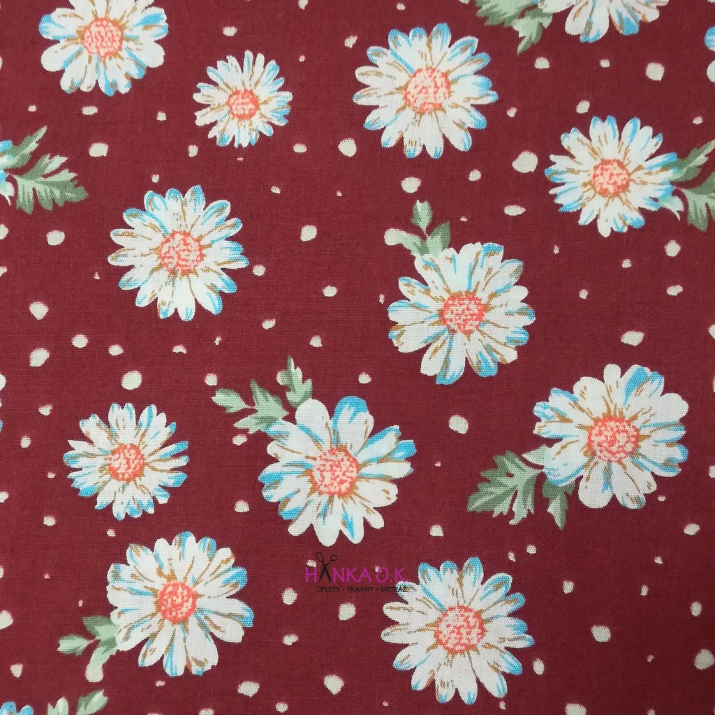 Bavlněná tkanina - popelín 110g - kopretiny na červené bordo