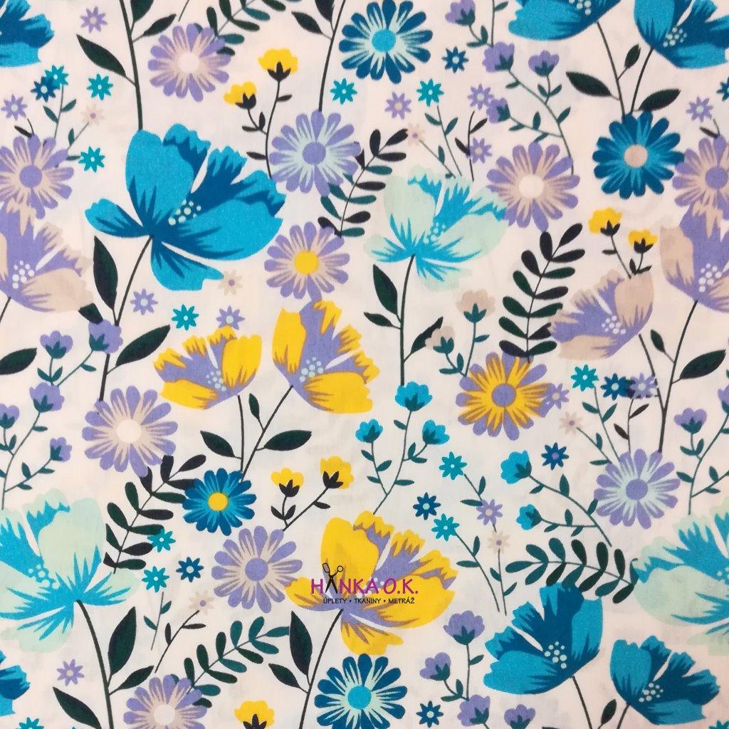 Bavlněná tkanina - popelín 110g - luční kvítí modro-žlutá