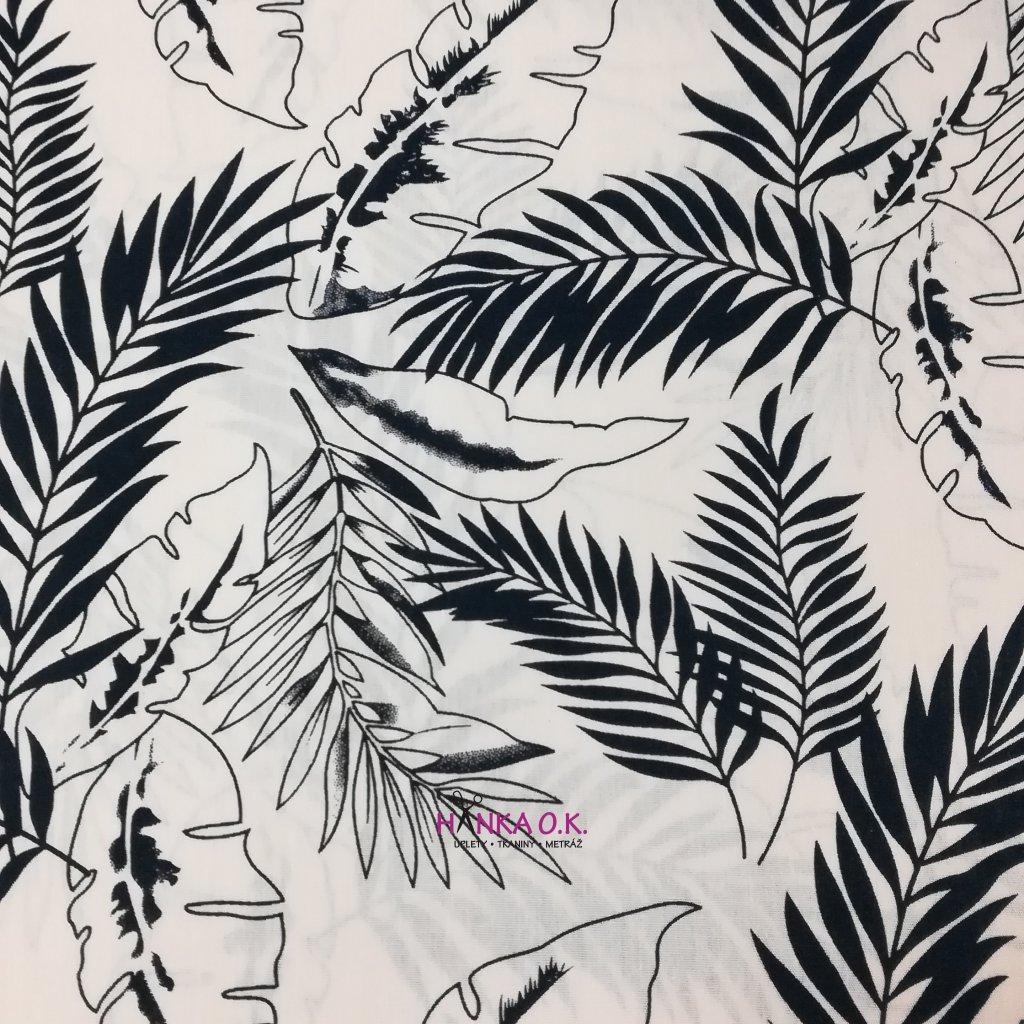 Bavlněná tkanina - popelín 110g - tropické listy