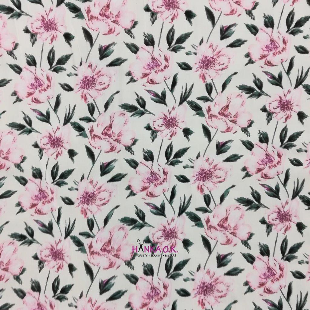 Viskózová tkanina květ plané růže 110g
