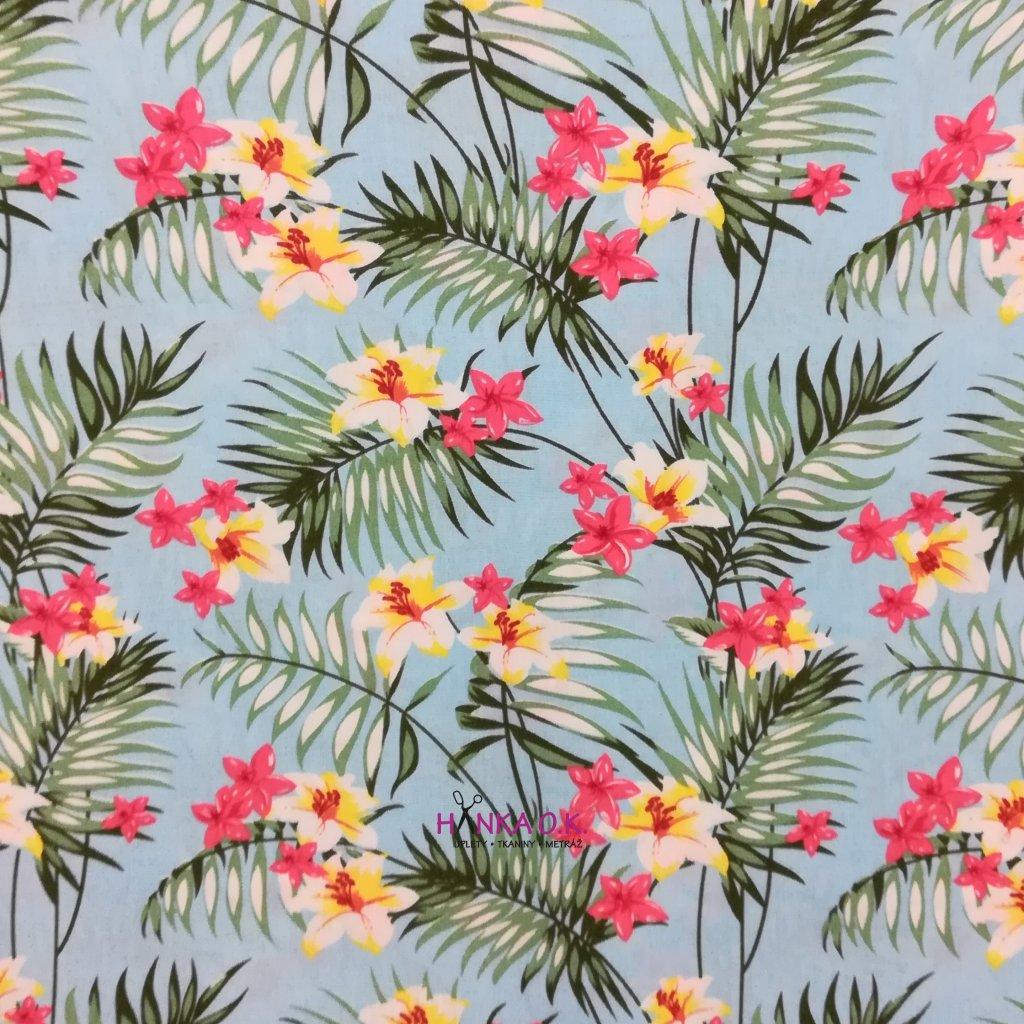 Viskózová tkanina lilie s kapradinou 110g