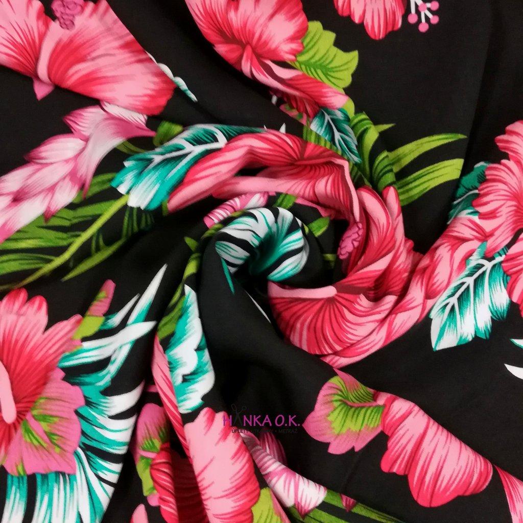 Viskózová tkanina ibišek na černé 110g