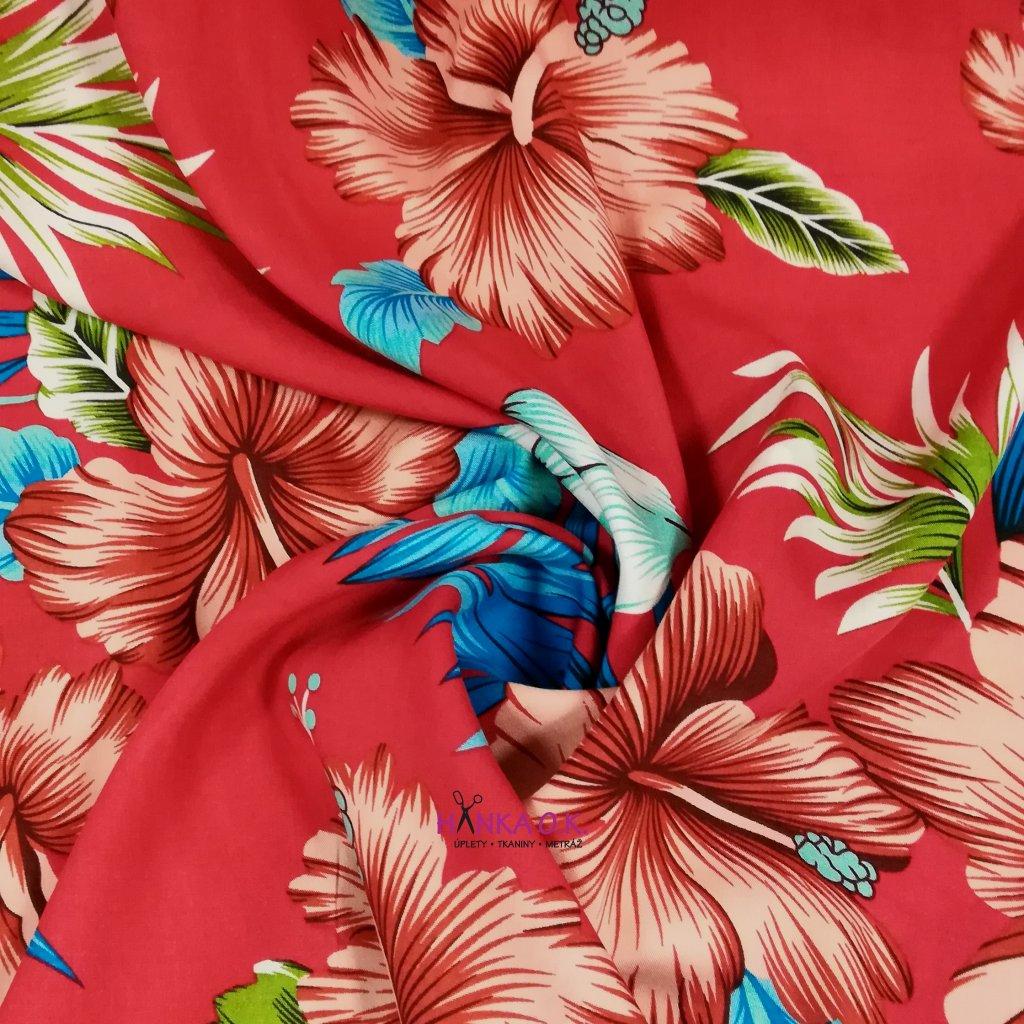 Viskózová tkanina ibišek na červené 110g