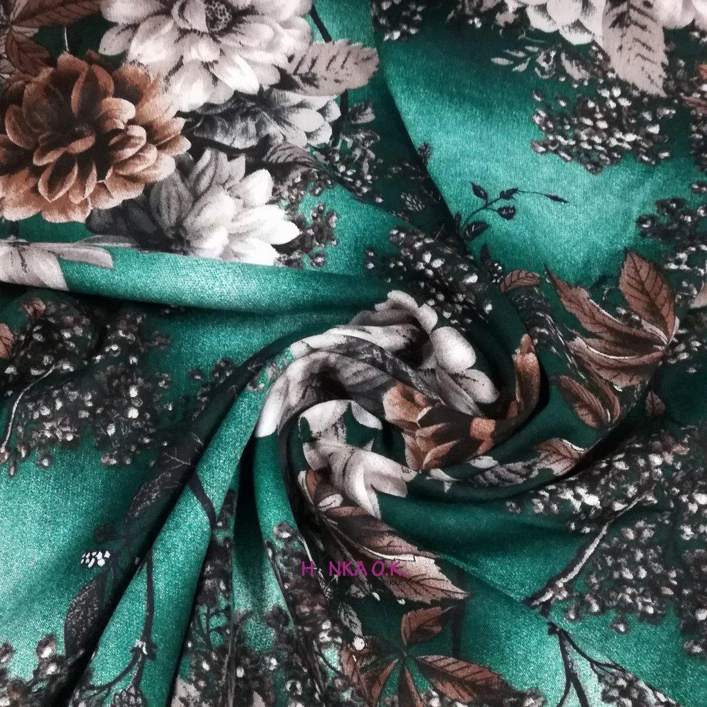 Viskózová tkanina variace květin na zelené 110g