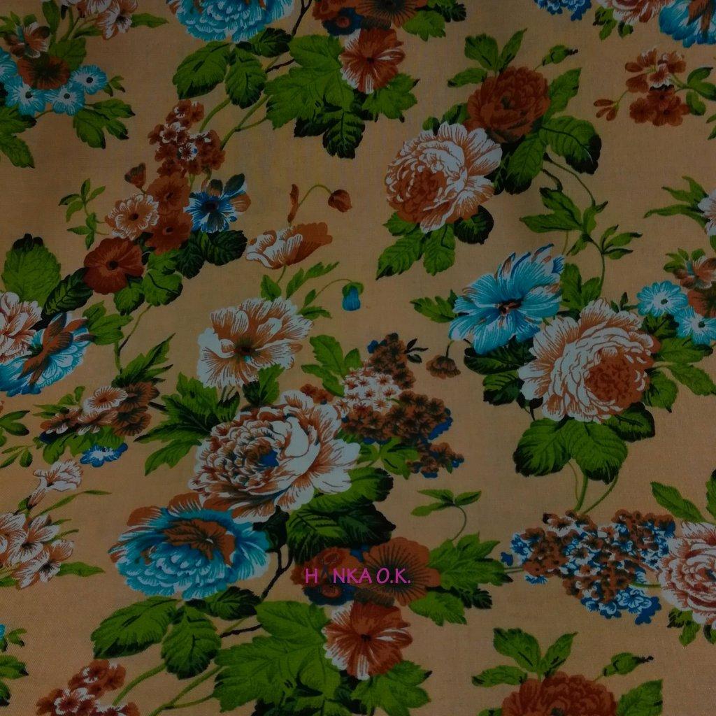 Viskózová tkanina variace květin na okrové 110g
