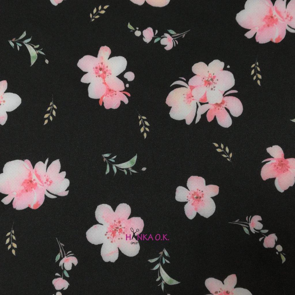 Softshell zimní 3 vrstvý květiny na černé, 320g