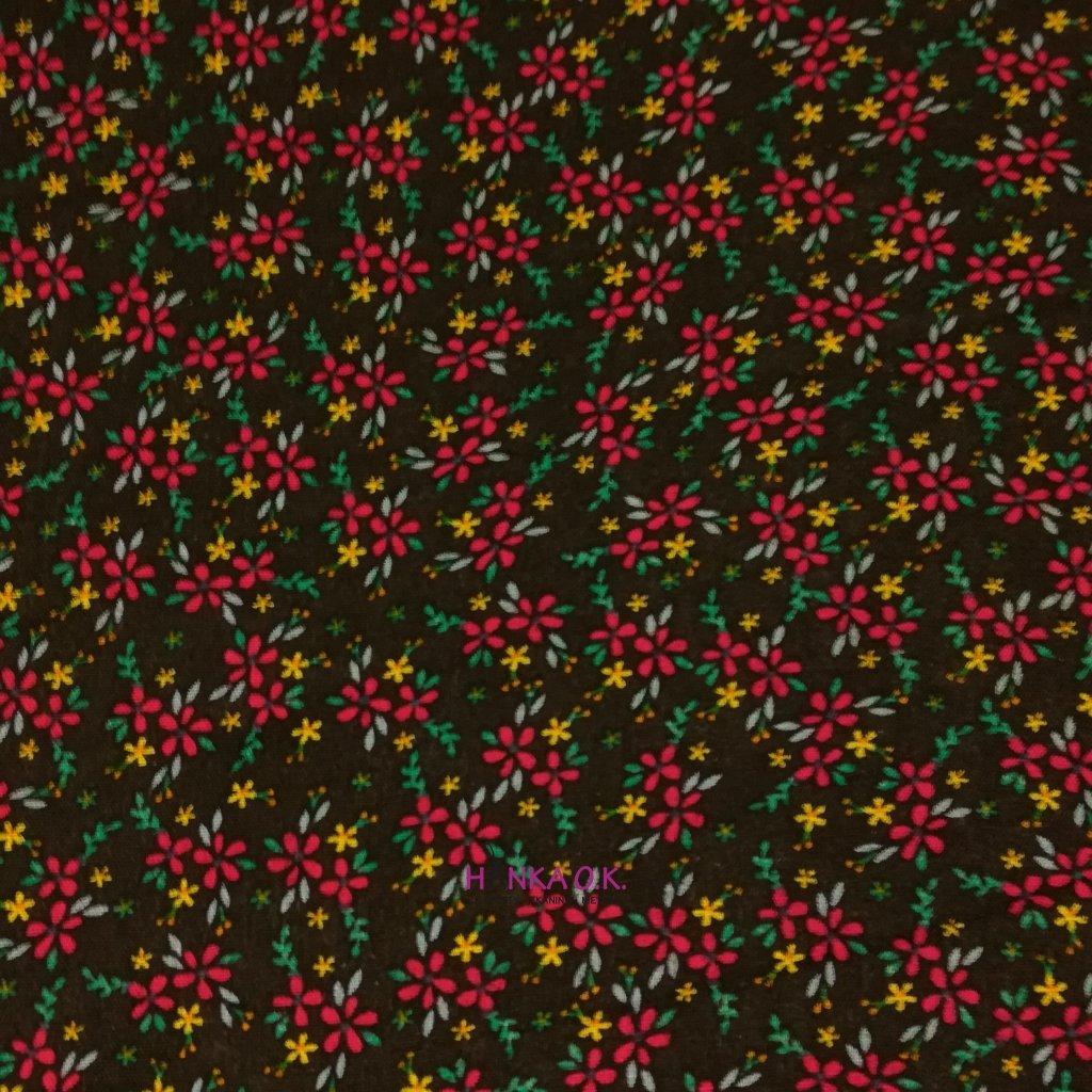 Viskózová tkanina drobné kytičky na černé 110g