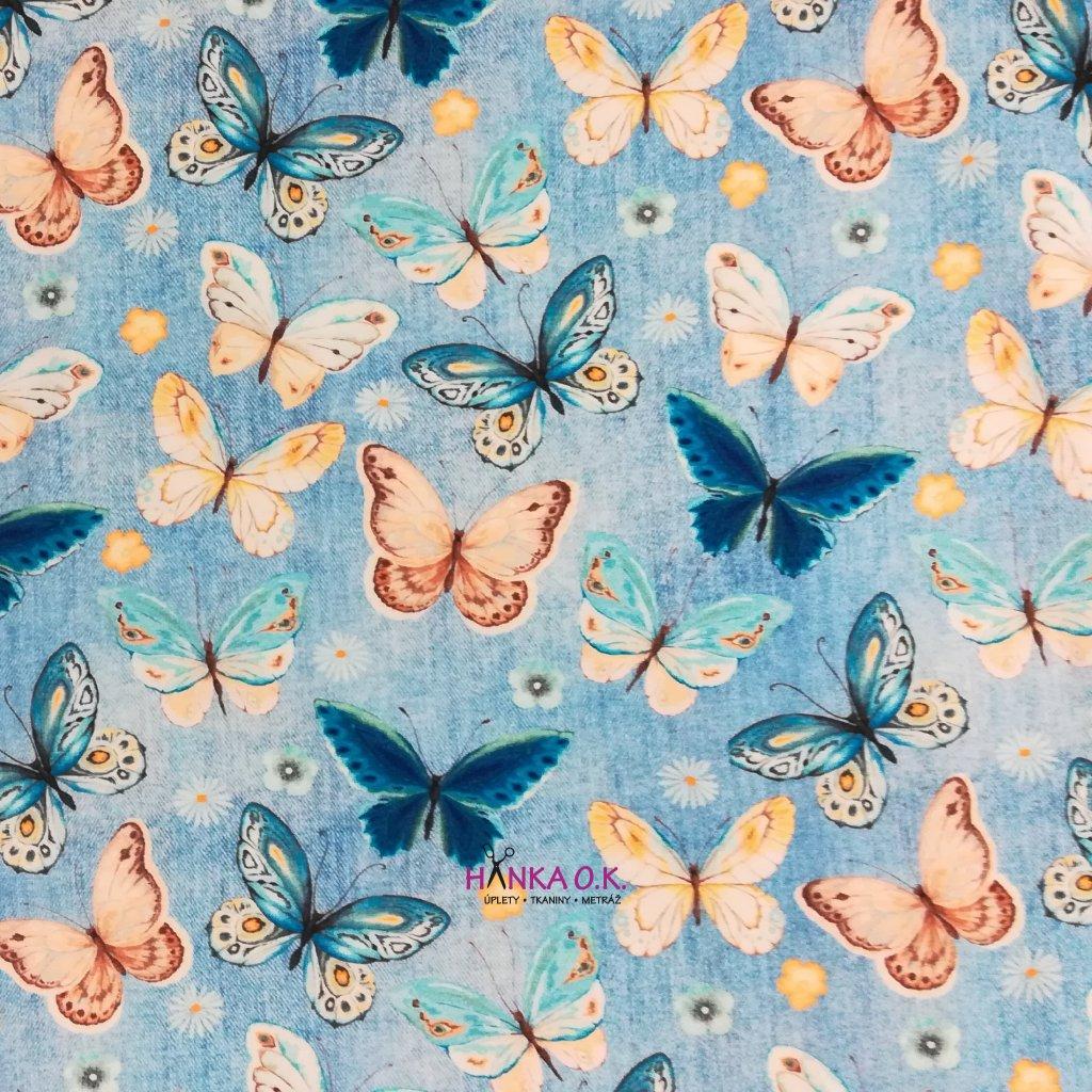 Úplet motýli na světle modré jeans 200g