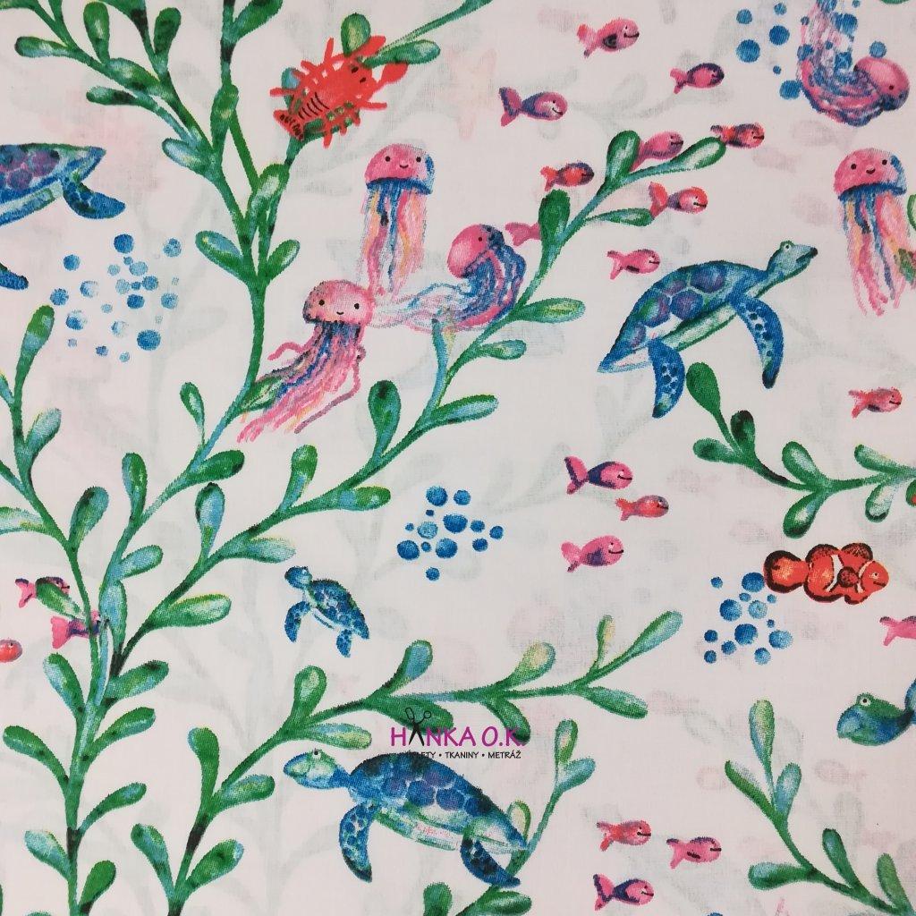Bavlněná tkanina -  plátno 120g - pod mořem