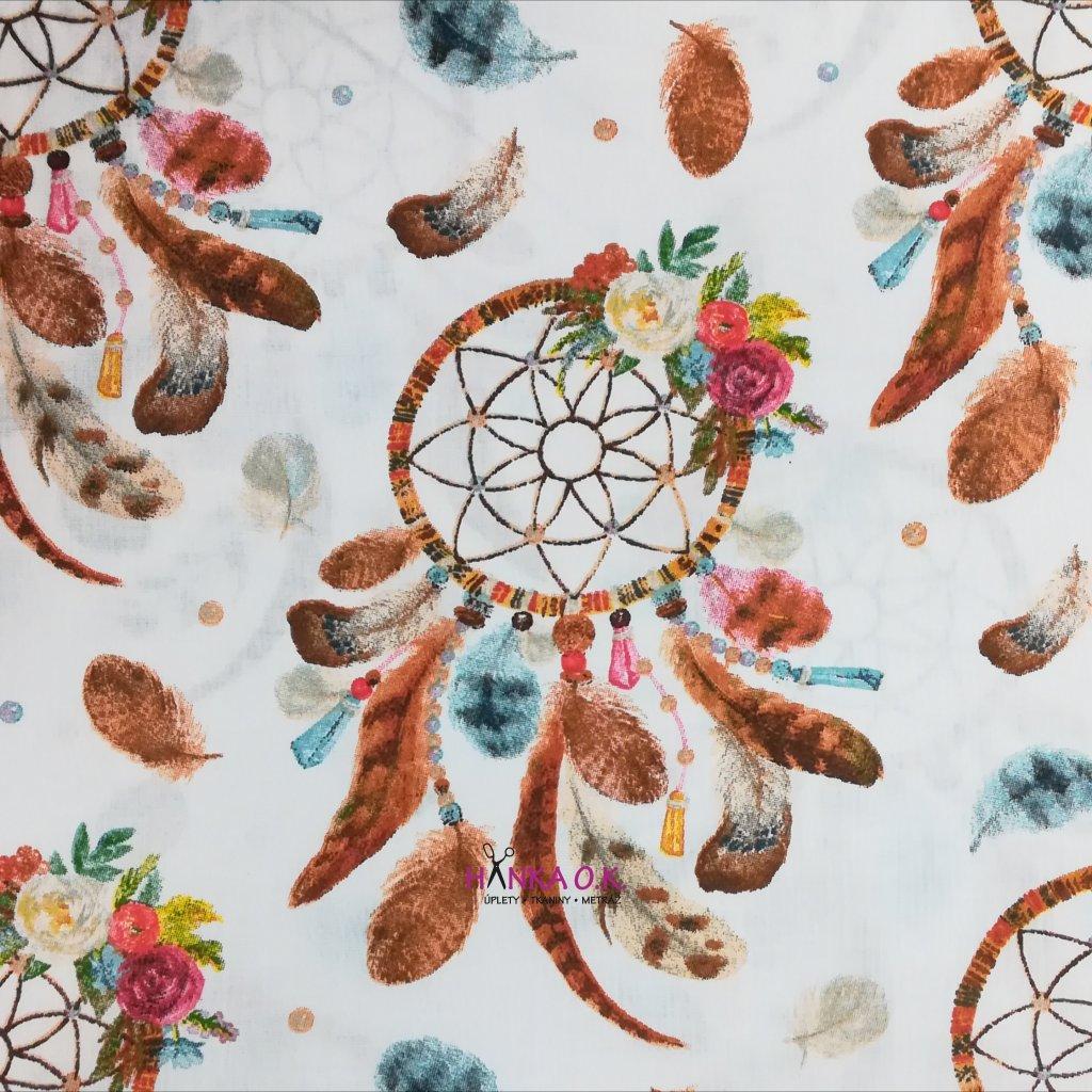Bavlněná tkanina -  plátno 120g - lapače snů