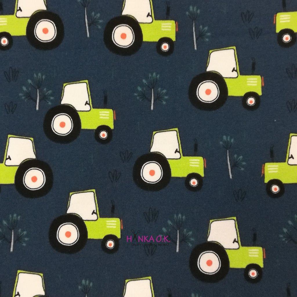 Úplet zelené traktory na modré navy 200g