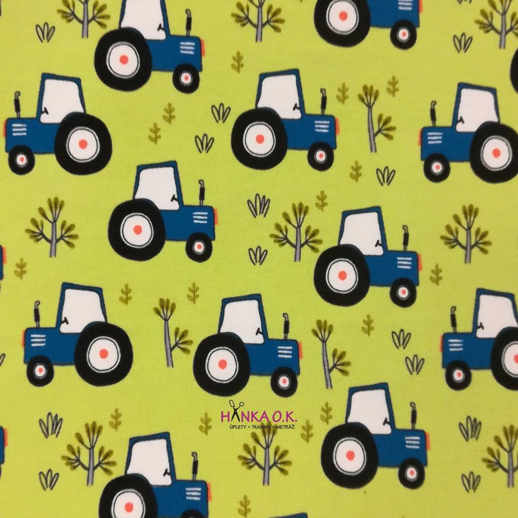 Úplet modré traktory na zelené lime 200g