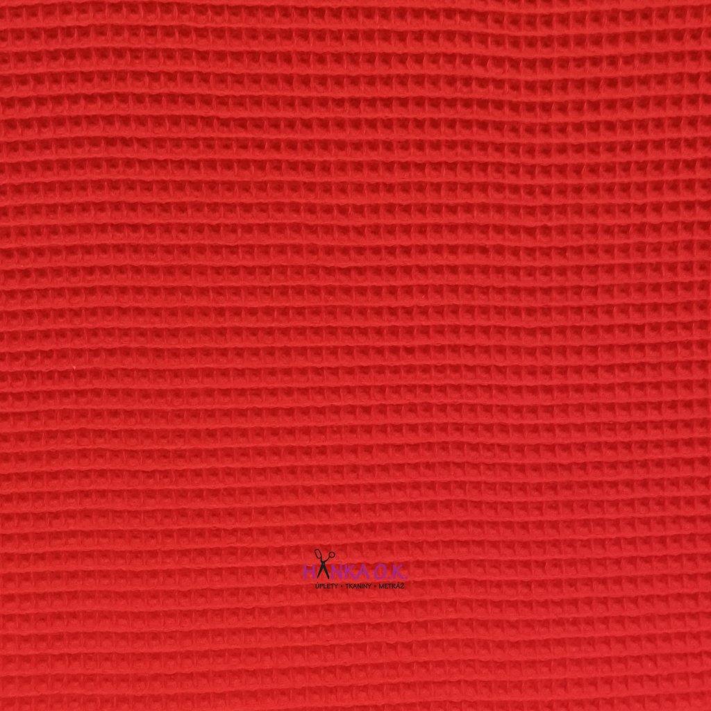 Bavlněná tkanina -  waflová vazba 240g - červená -vafle