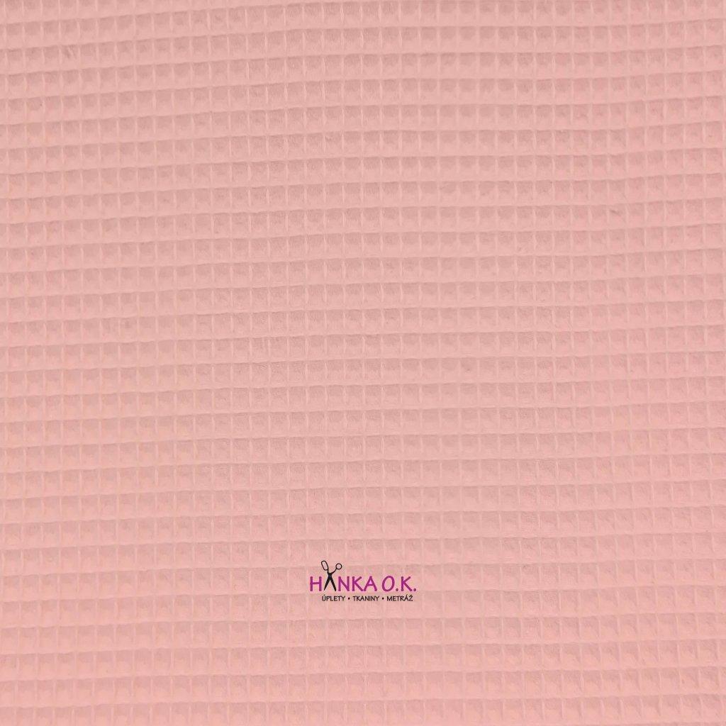 Bavlněná tkanina -  waflová vazba 240g - růžová baby - vafle
