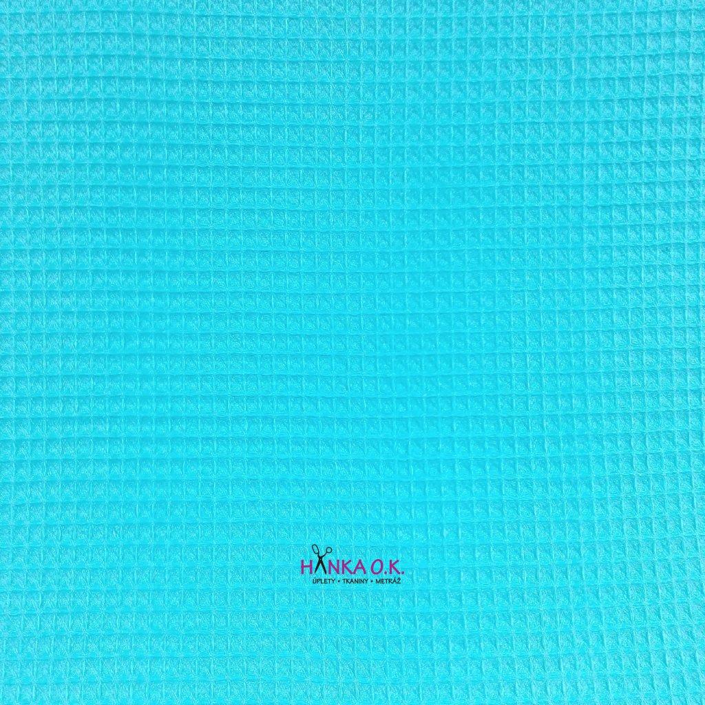 Bavlněná tkanina -  waflová vazba 240g - modrá baby - vafle