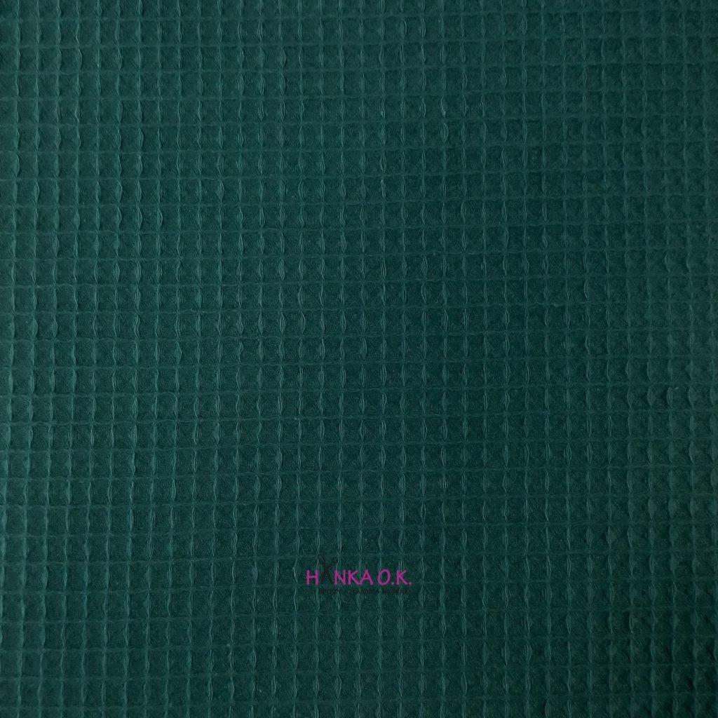 Bavlněná tkanina -  waflová vazba 240g - petrolejová - vafle