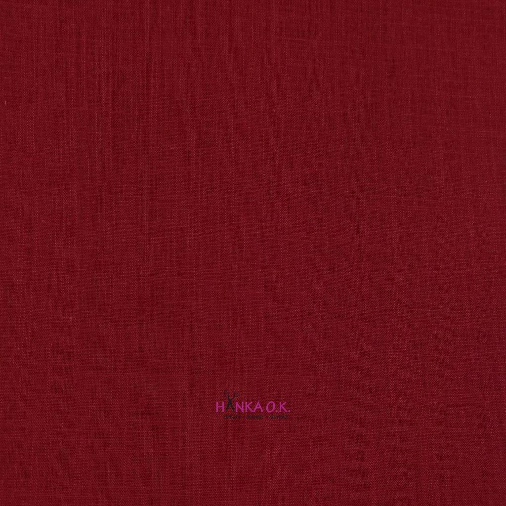 Lněná tkanina s viskózou 200g - červená bordó