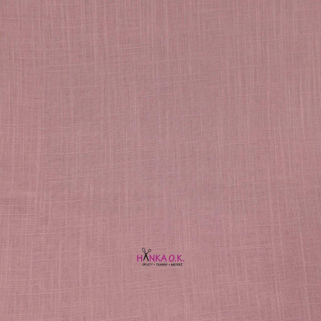 Lněná tkanina s viskózou 200g - růžová baby