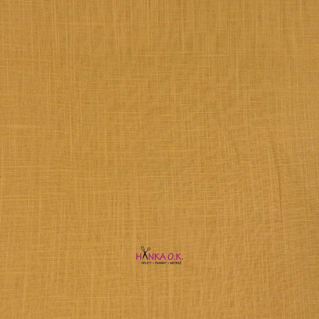 Lněná tkanina s viskózou 200g - okrová světlá