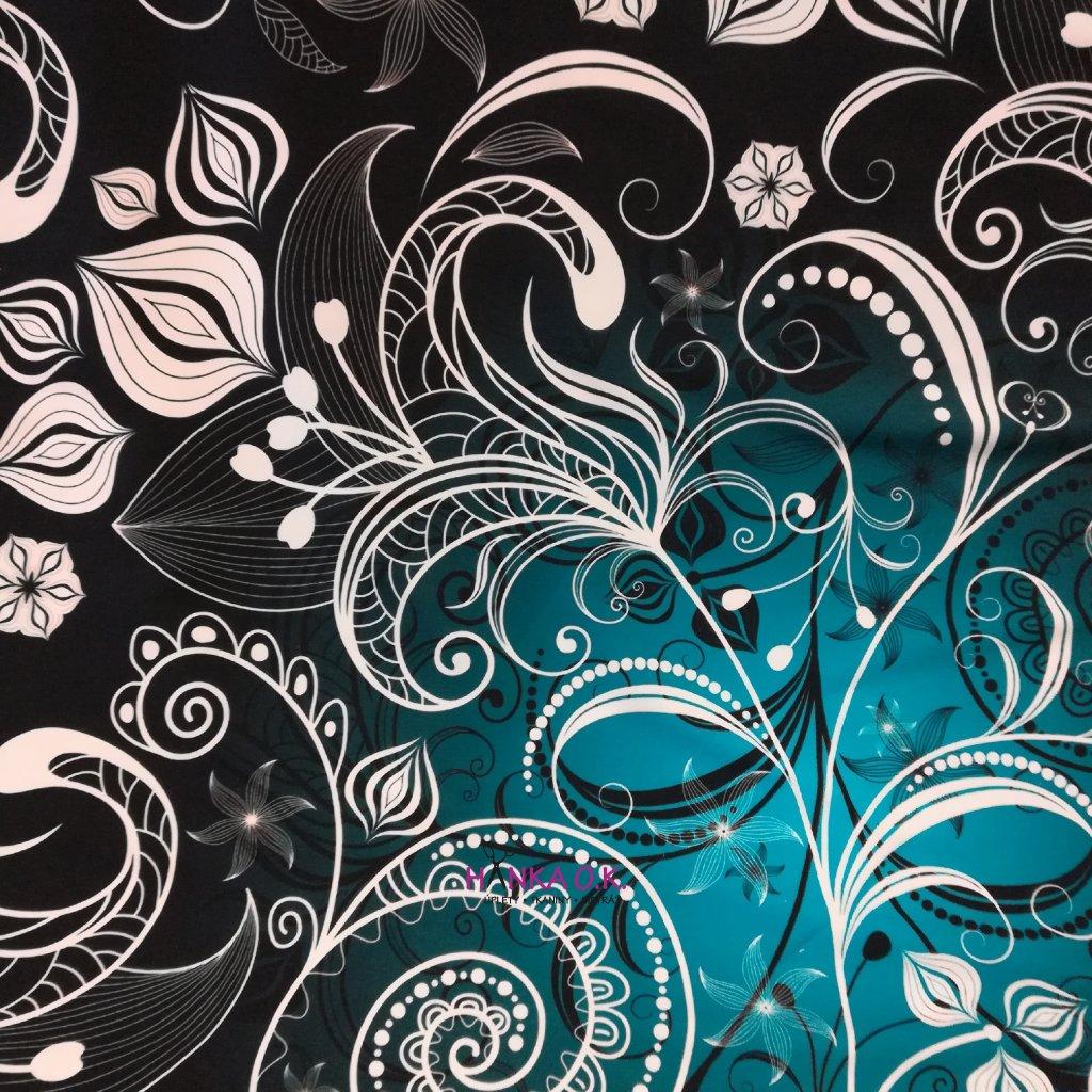 Teplákovina nepočesaná ornamenty na černomodré 240g