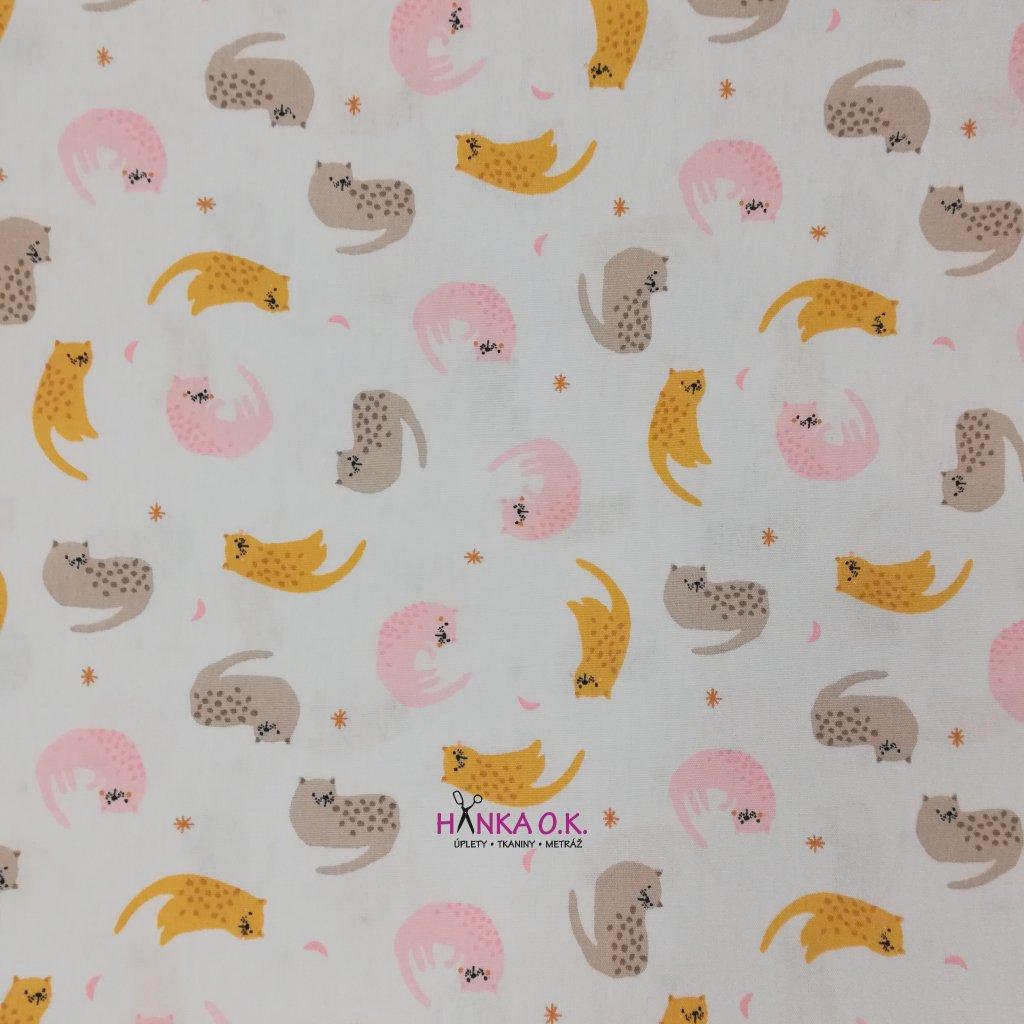 Bavlněná tkanina - plátno 130g - kočky - okrová, šedá, růžová