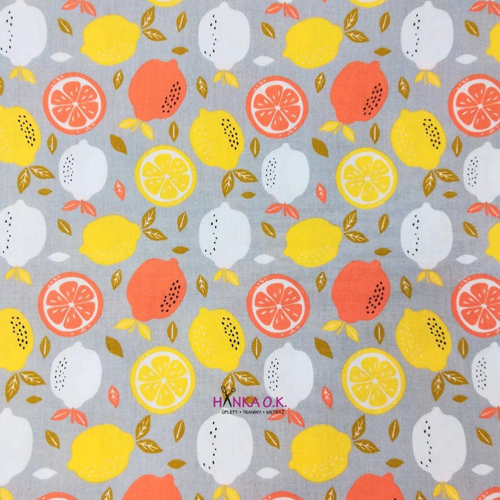 Bavlněná tkanina - plátno 130g - tropické ovoce