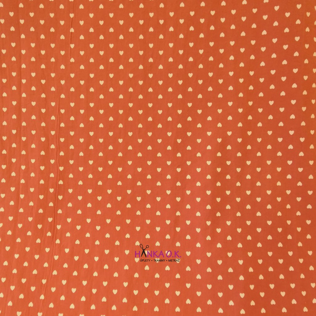 Bavlněná tkanina - plátno 130g - srdíčka na terakotové