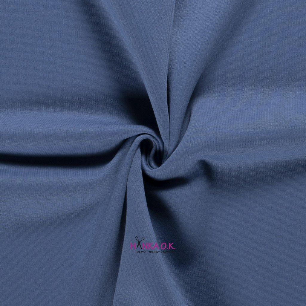 Teplákovina počesaná modrá indigo 250g