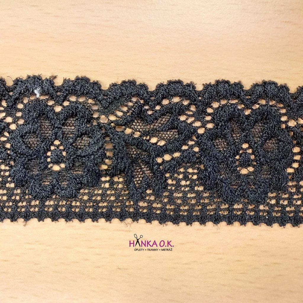 Krajka elastická černá 4,7cm