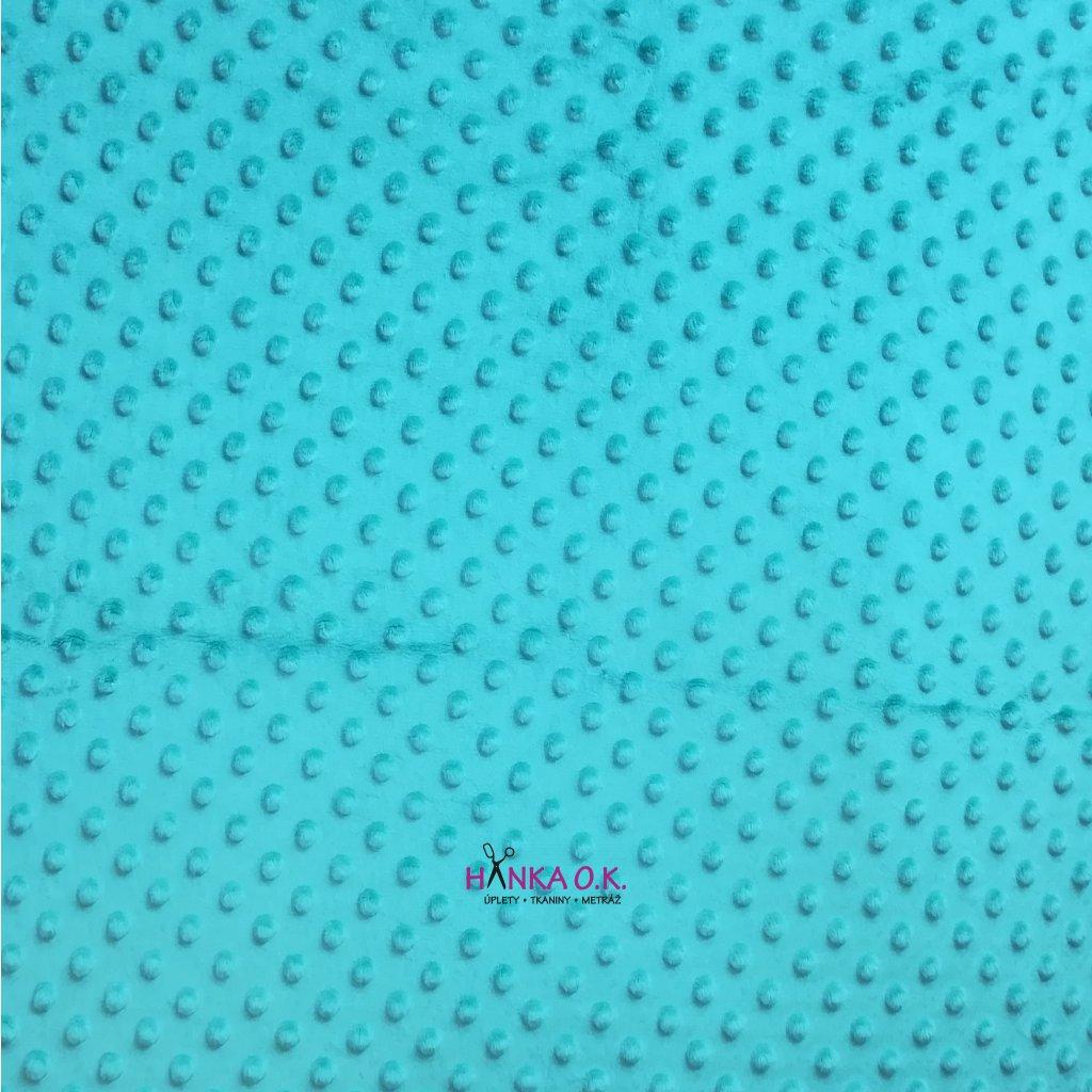 Minky s protlačovanými puntíky ťuplíky modrozelená