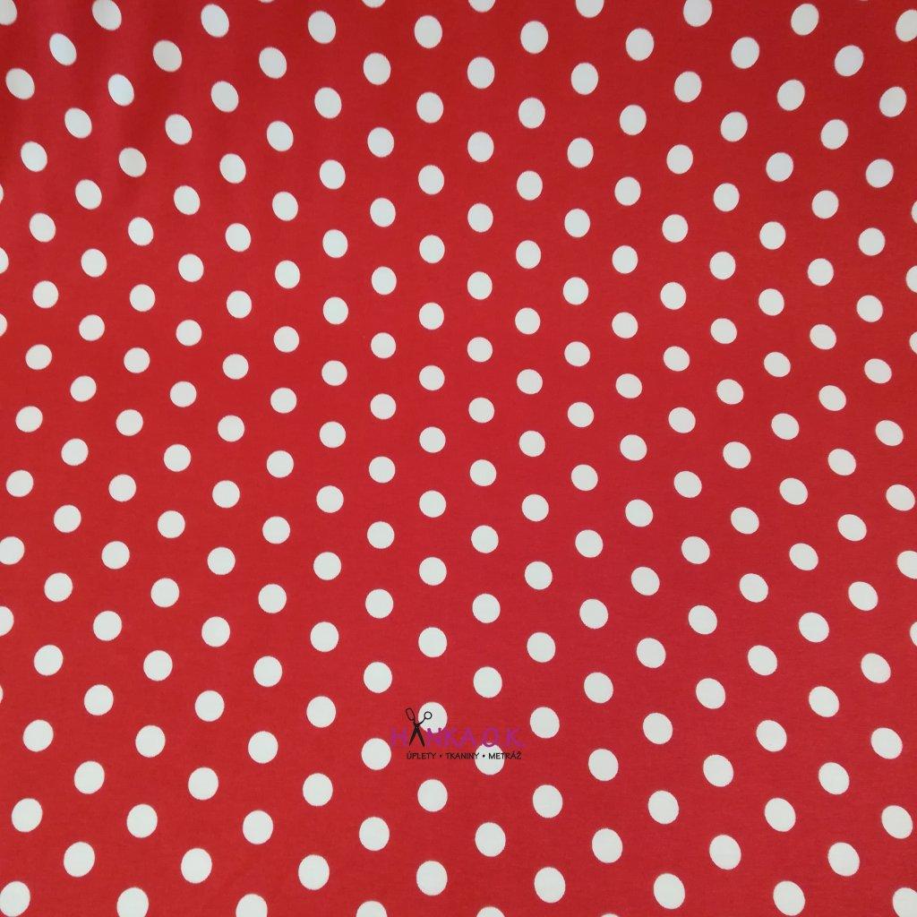 Viskozový úplet 210g - bílé puntíky na červené