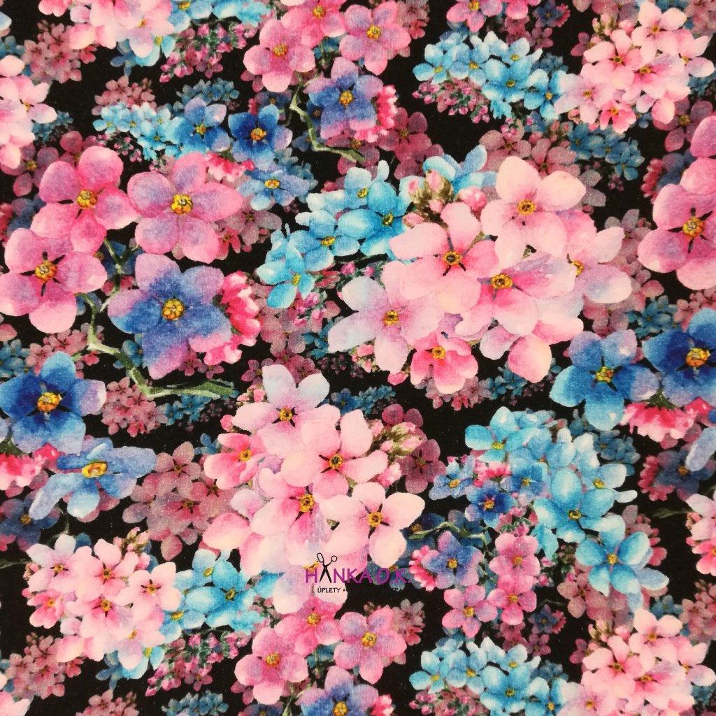 Teplákovina nepočesaná digitisk květy růžové a modré 240g