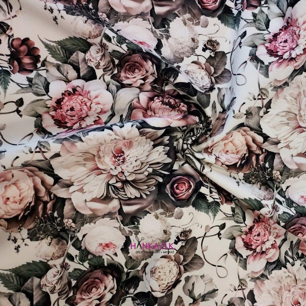 Teplákovina nepočesaná digitisk květy na ecru 240g