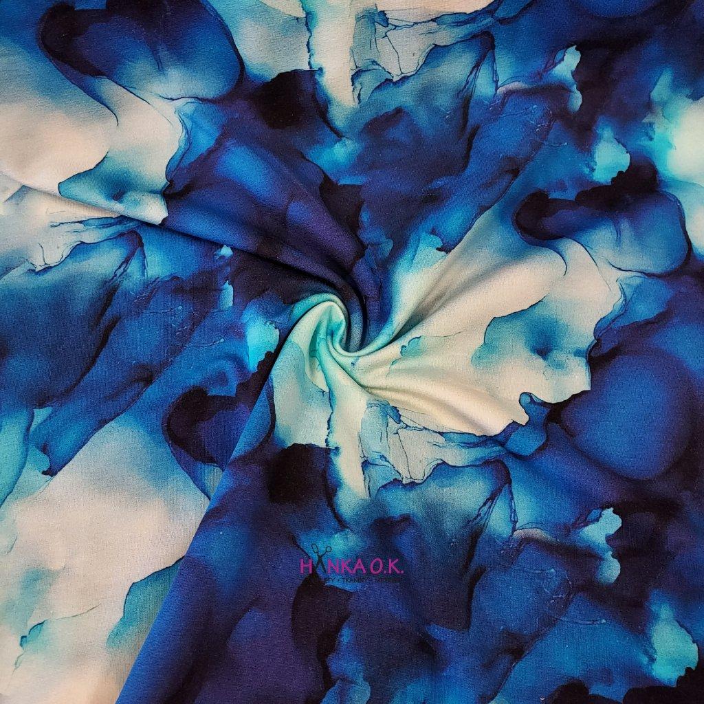 Teplákovina nepočesaná modrá mlhovina 240g