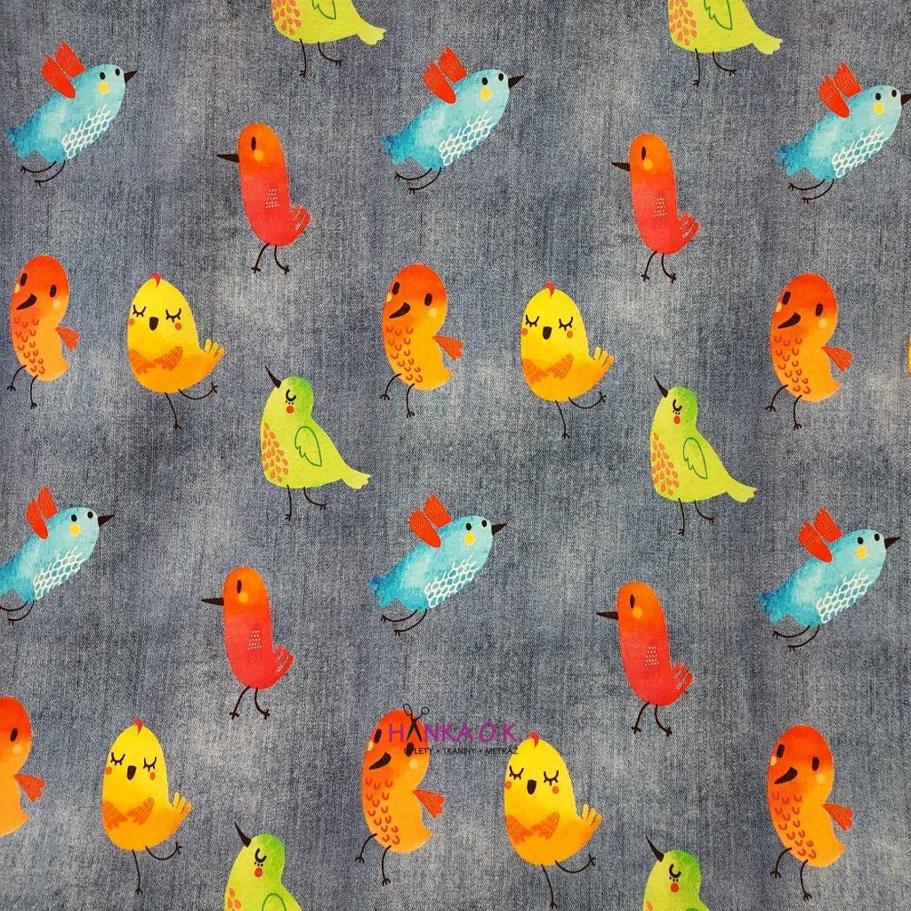 Úplet barevní ptáčci na středně modré jeans 200g