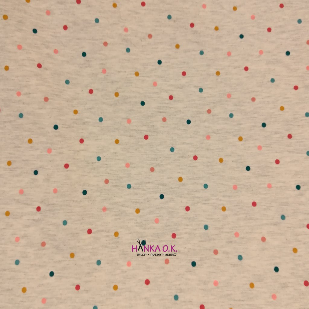 Úplet barevné puntíky na béžovém melé 200g
