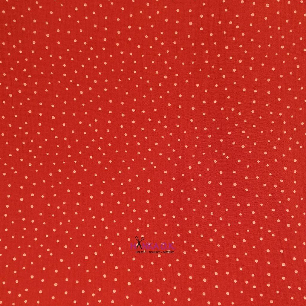 Dvojitá gázovina - bílý puntík na červené 120g