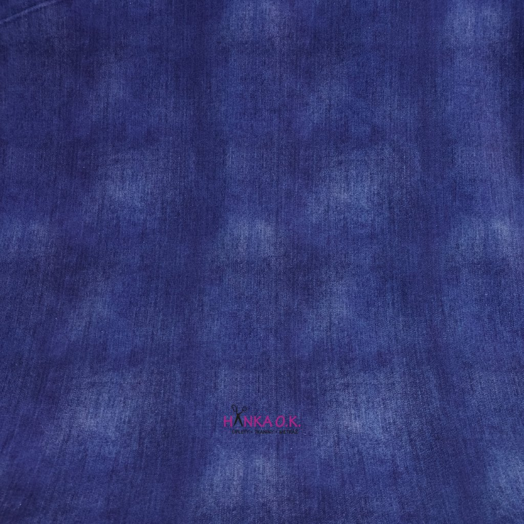 Teplákovina tisk jeans modrá royal 250g