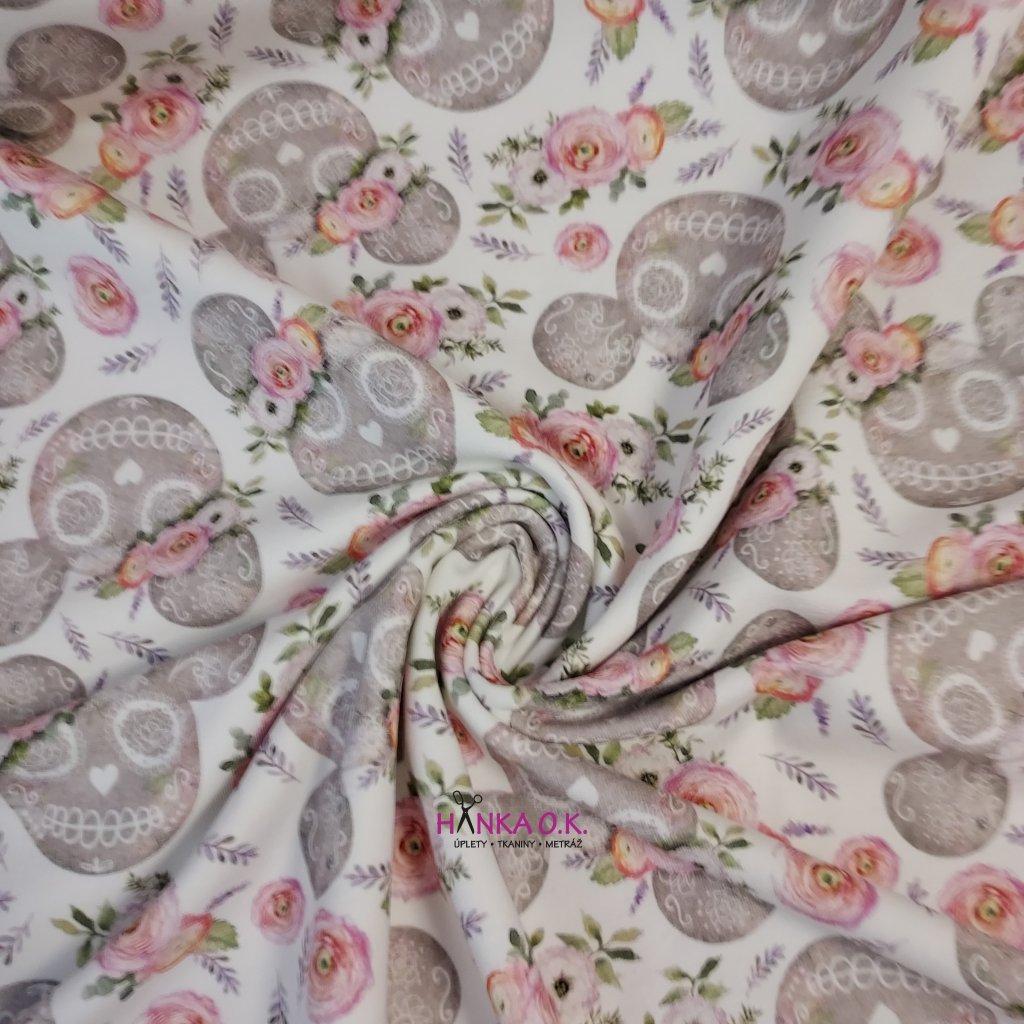 Teplákovina tisk Mickey s květinou ala Día de Muertos 250g