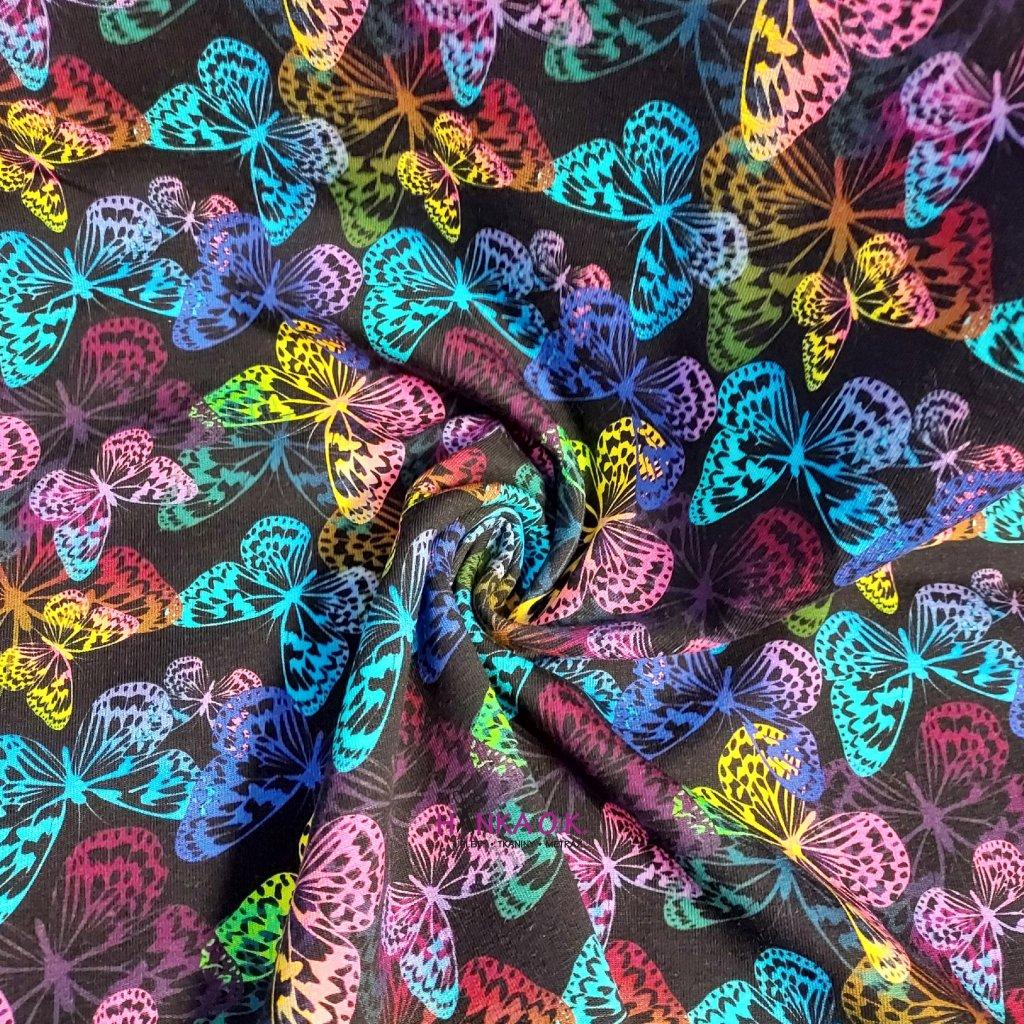 Teplákovina nepočesaná digitisk barevní motýli 240g