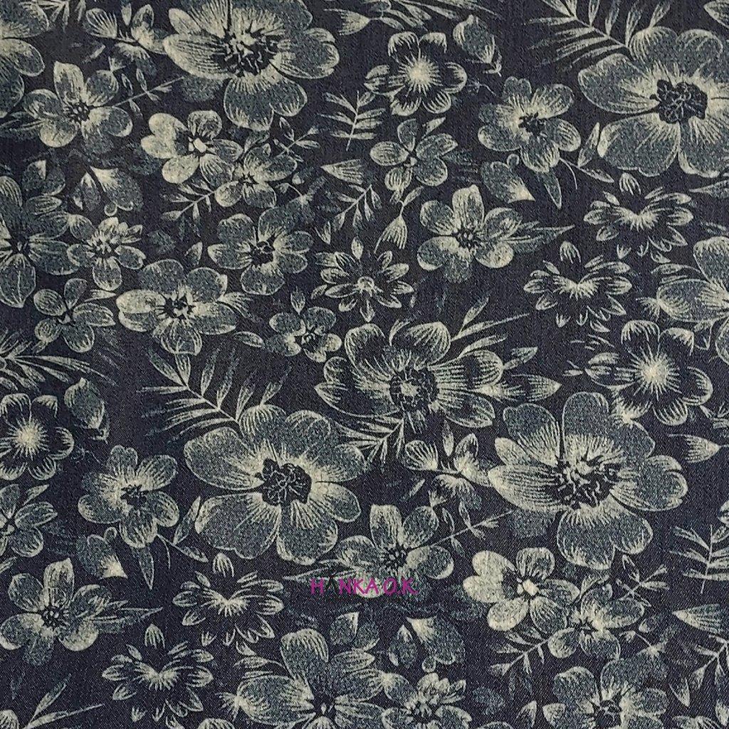 Jeans lehký 190g - kytky tmavší