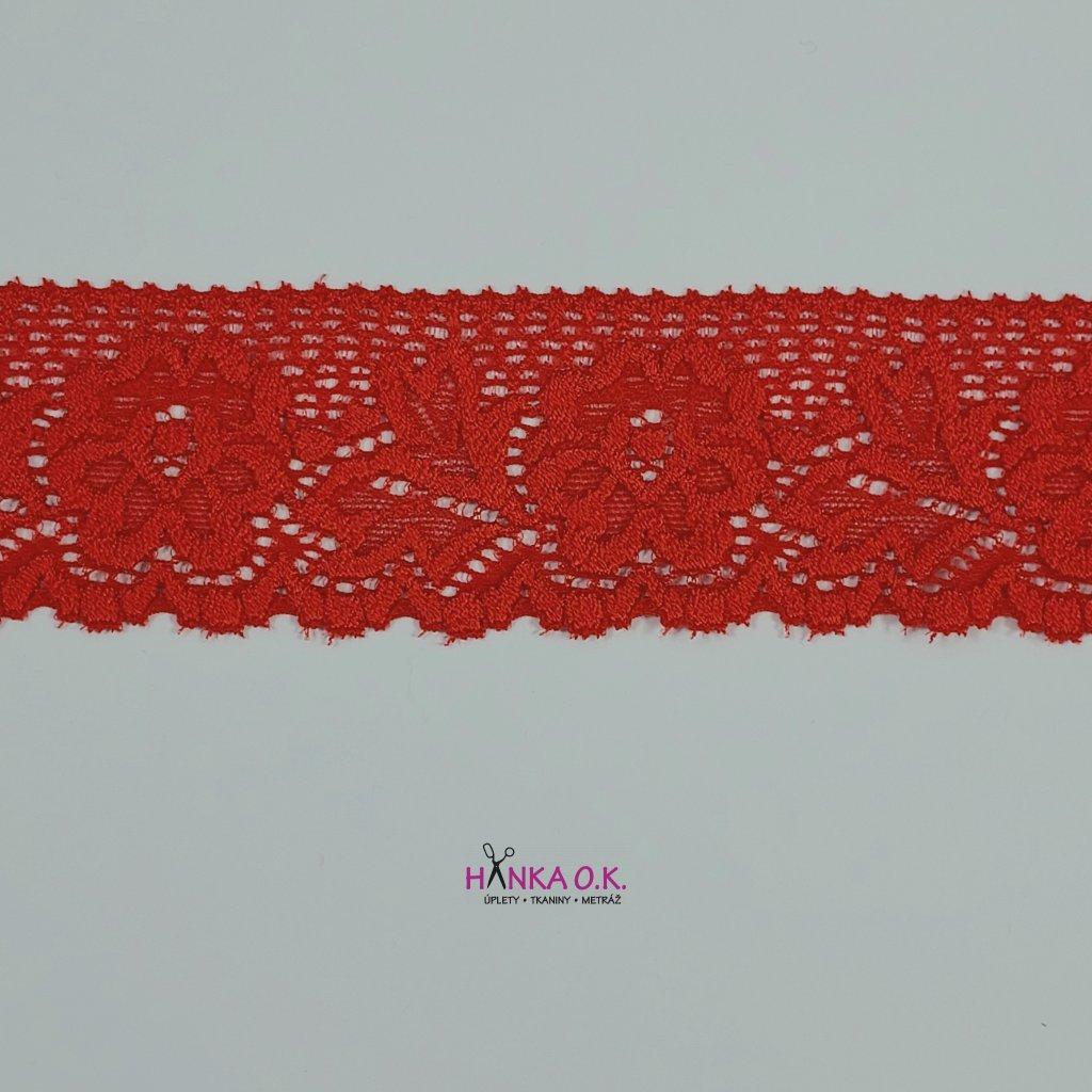 Krajka elastická červená 4,7cm