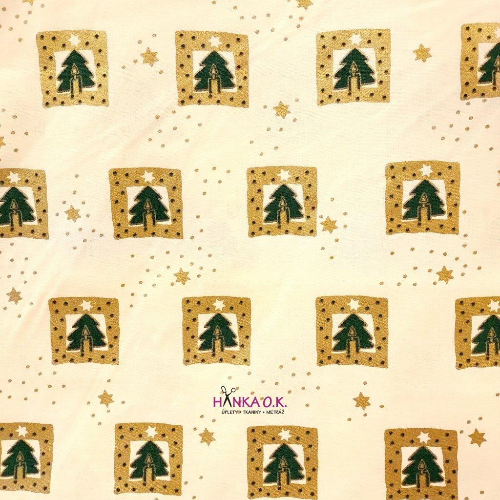 Bavlněná tkanina - plátno 135g - stromečky se zlatým rámečkem na žluté