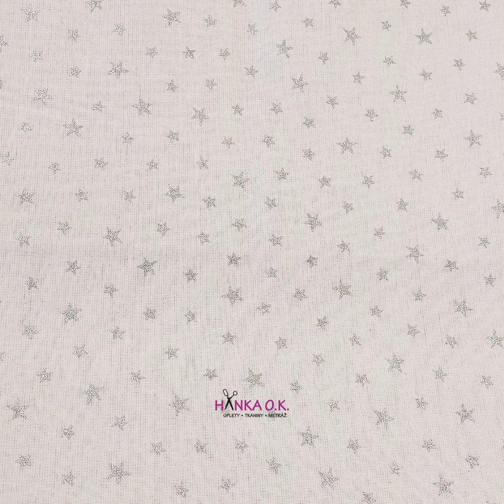 Bavlněná tkanina - plátno 135g - stříbrné hvězdičky na bílé II. jakost