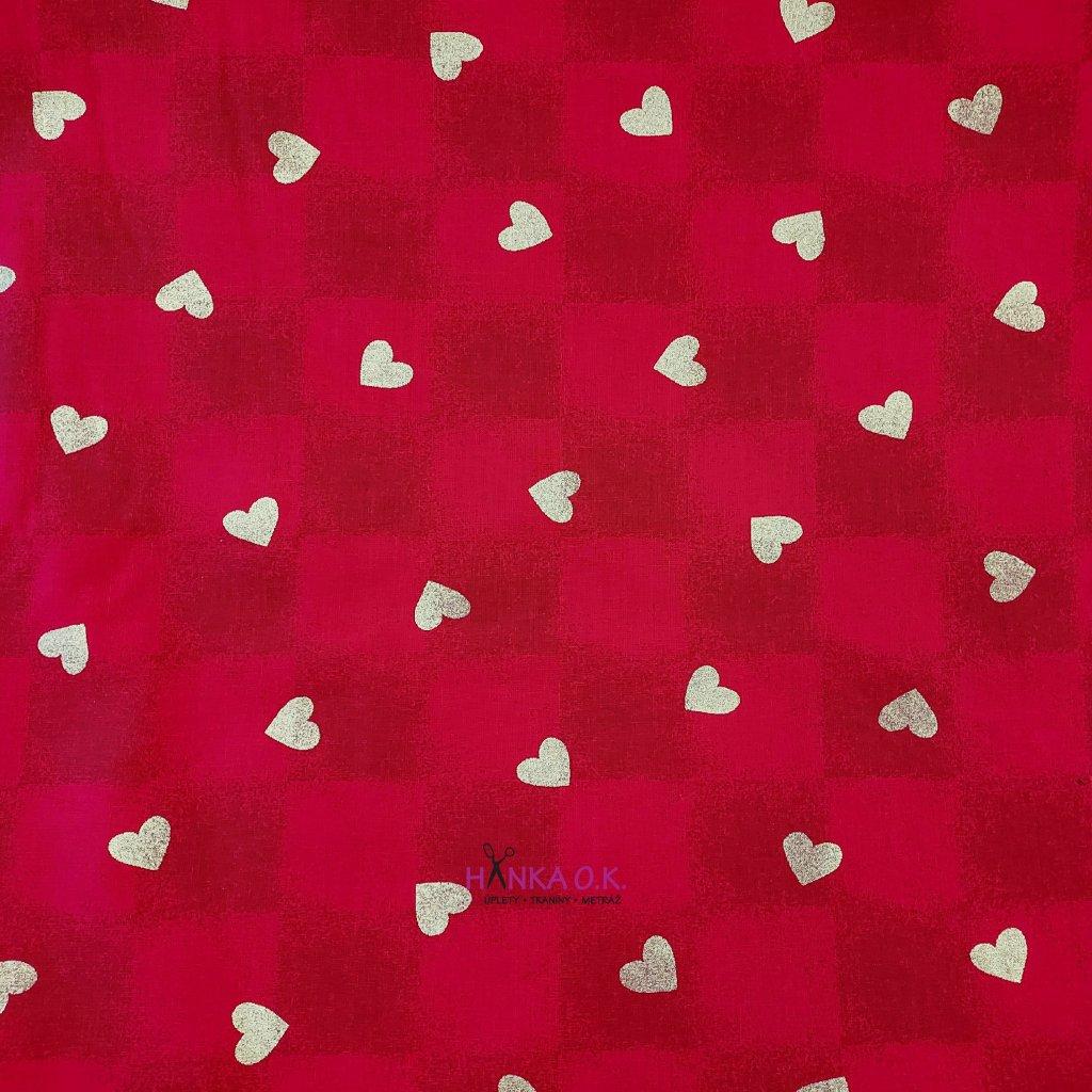Bavlněná tkanina - plátno 135g - zlatá srdíčka na červené