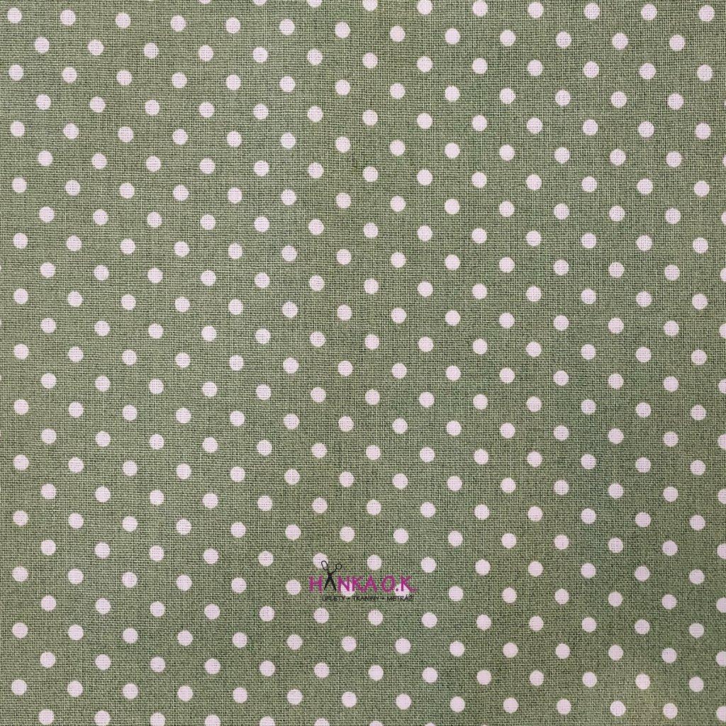 Bavlněná tkanina - plátno 135g - puntíky na zelené hráškové